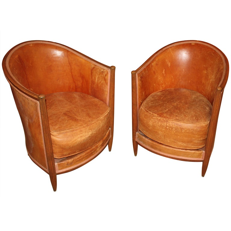 Pair Of Petite Art Deco Leather Club Chairs at 1stdibs
