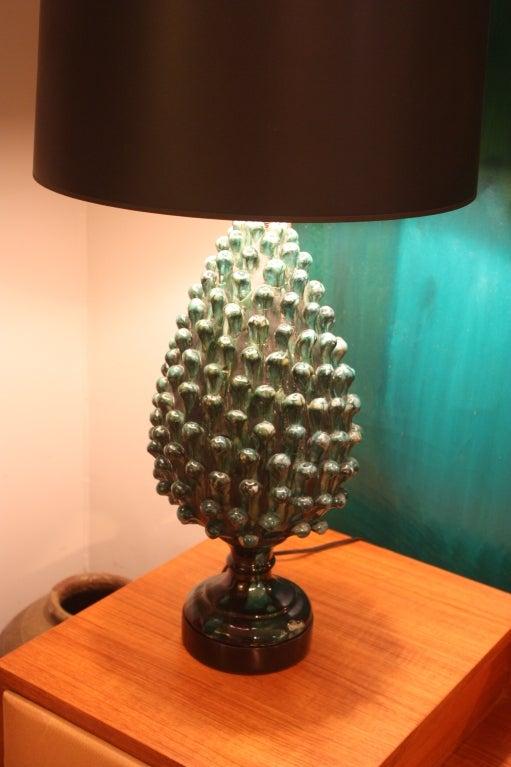 Whimsical Glazed Ceramic Pinecone Lamp At 1stdibs