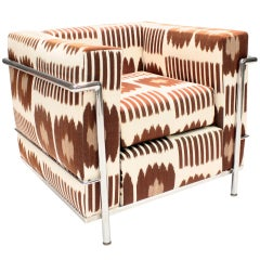 Le Corbusier LC2 Armchair reupholstered by Madeline Weinrib in Brown Collins fab