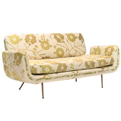 Alexander Girard Sofa reupholstered by Madeline Weinrib in Sunder Green fabric