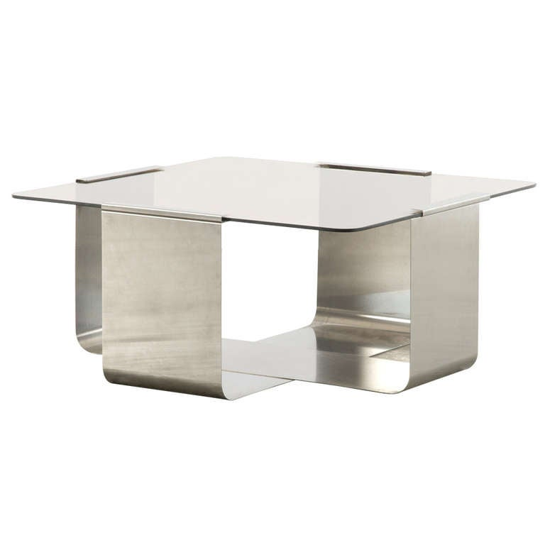 Stainless Steel And Glass Coffee Table By Francois Monnet Ca 1970
