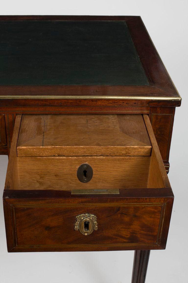 Louis xvi brass inlaid mahogany bureau plat stamped hazard for 13 bureau ims llc