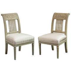 Pair of Directoire Cream-Painted Slipper Chairs