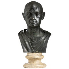 "Patinated Bronze ""Grand Tour"" Bust of a Man"