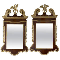 Matched Pair of George II Parcel Gilt Mahogany Mirrors
