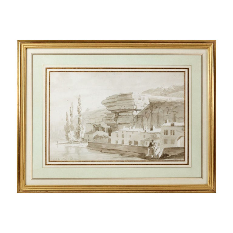 Large Neoclassical Drawing by Edouard Pingret, French School