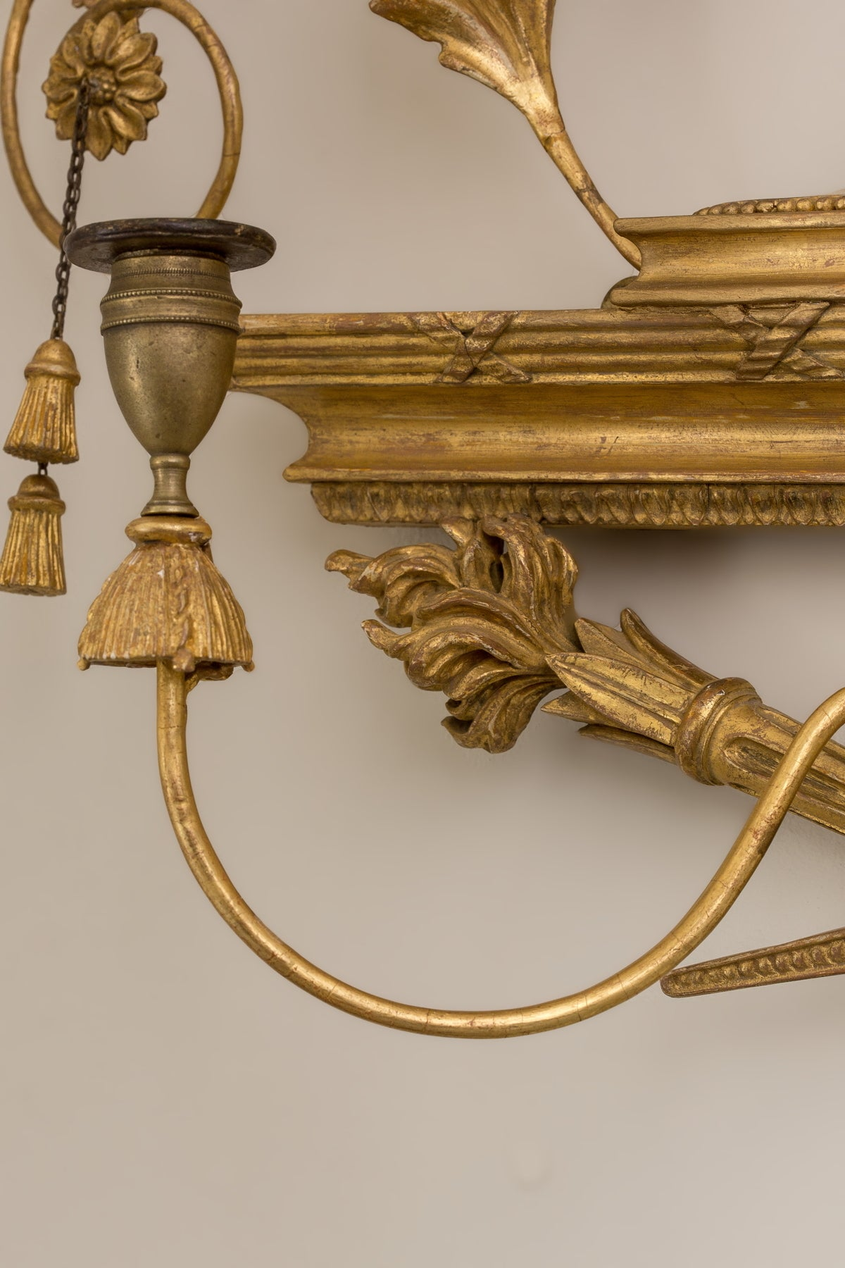 Pair of George III Giltwood Two-Light Sconces In Excellent Condition For Sale In Boston, MA