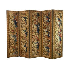 A Flemish Tapestry Five-Panel Screen