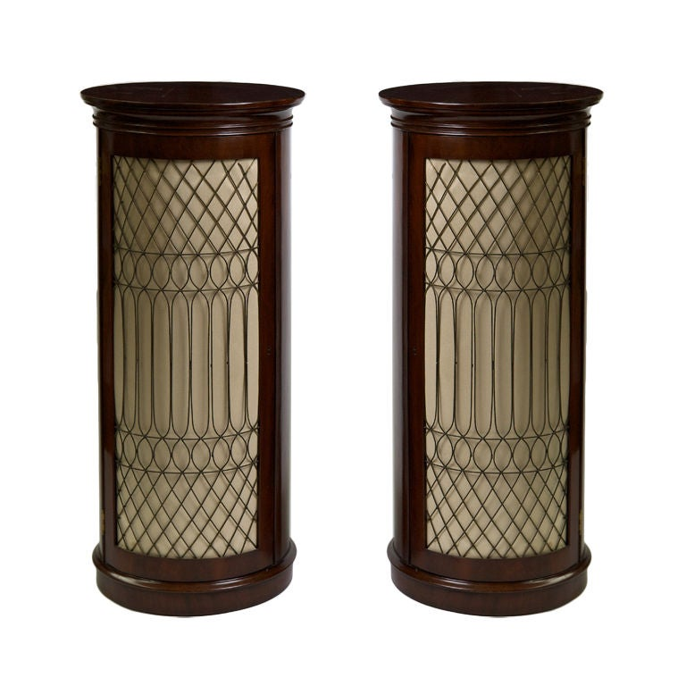 Pair of Regency Mahogany Pedestal Side Cabinets