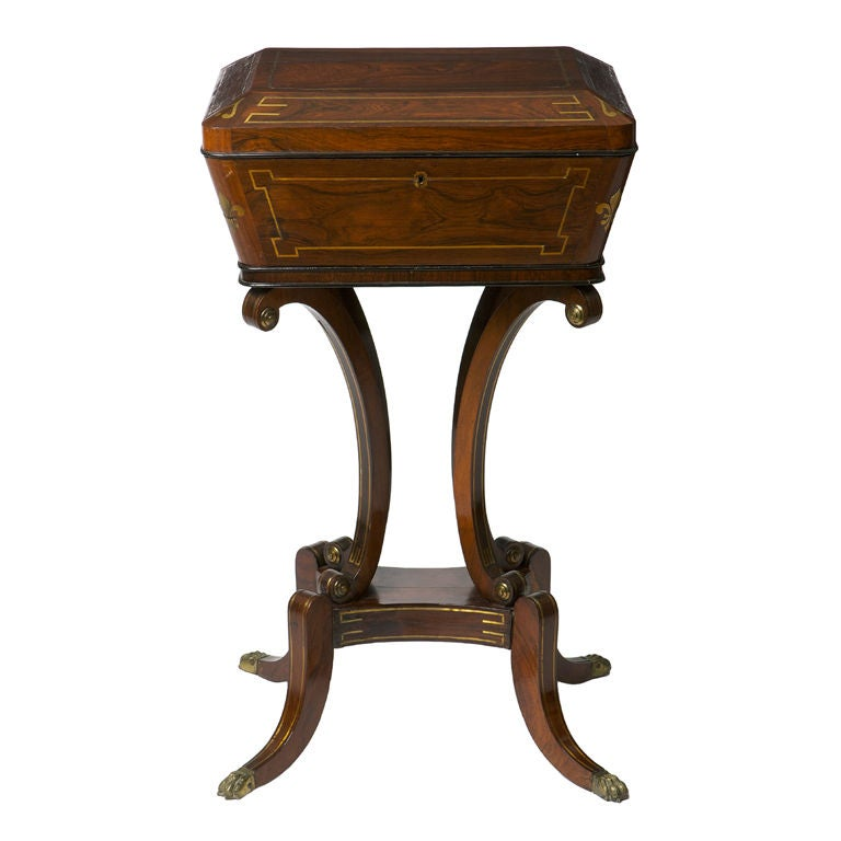 Regency rosewood and brass inlaid teapoy for sale at 1stdibs for Teapoy table designs
