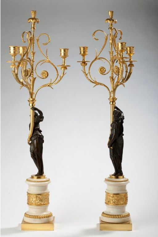 French Pair of Louis XVI Ormolu, Patinated Bronze and Marble Candelabra For Sale
