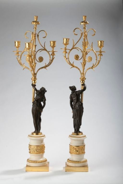 18th Century and Earlier Pair of Louis XVI Ormolu, Patinated Bronze and Marble Candelabra For Sale