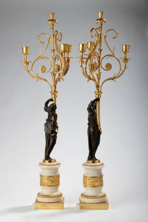 Pair of Louis XVI Ormolu, Patinated Bronze and Marble Candelabra For Sale 1