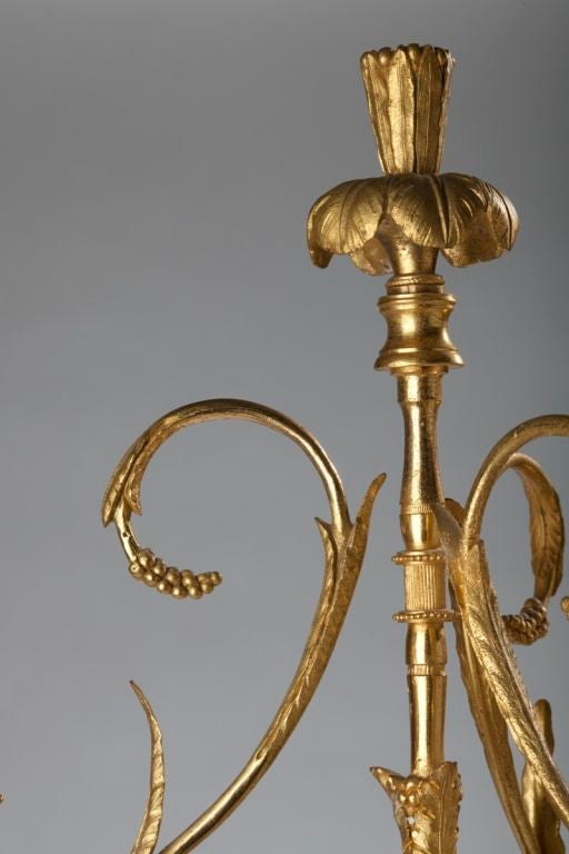 Pair of Louis XVI Ormolu, Patinated Bronze and Marble Candelabra For Sale 4