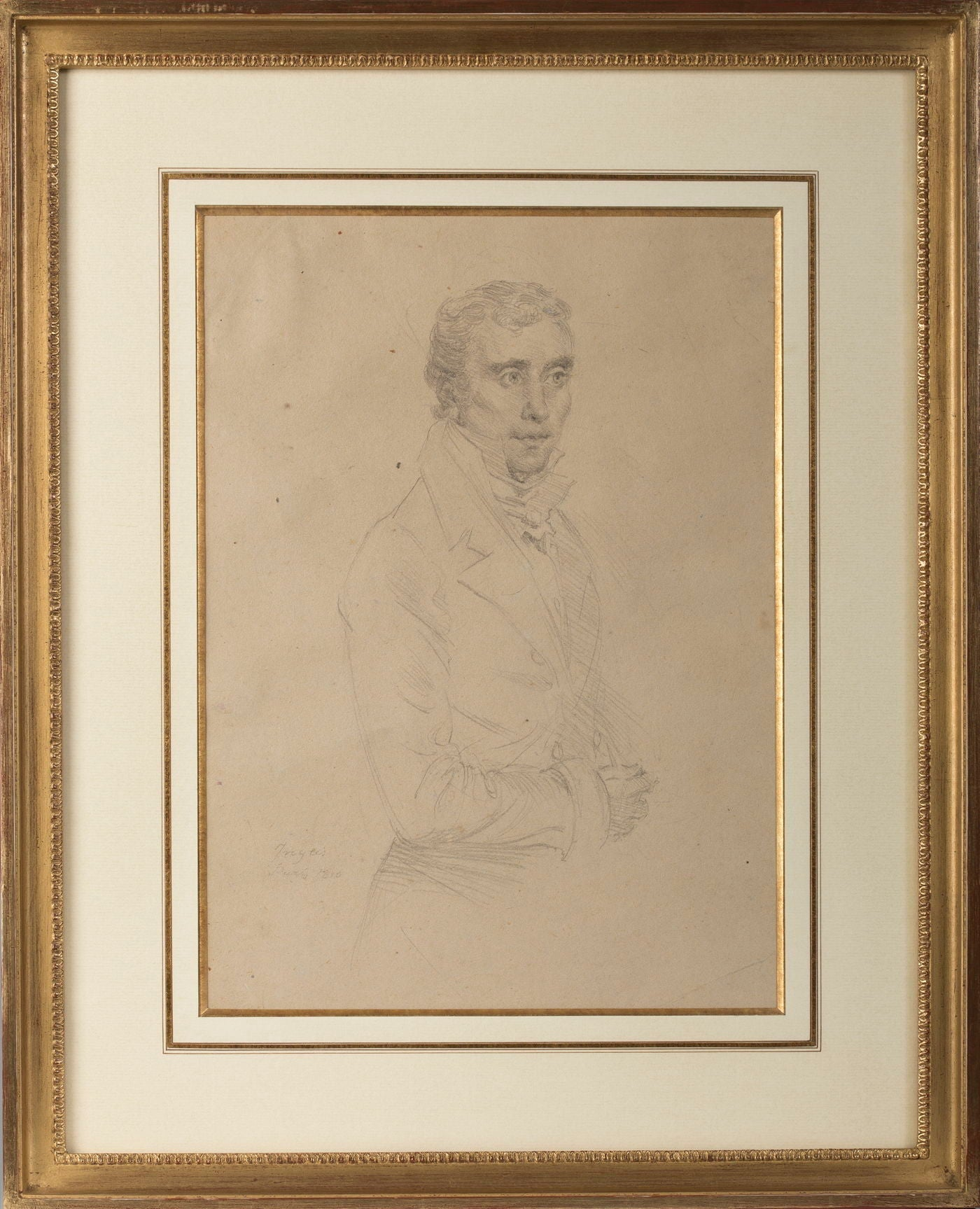 Drawing, Portrait of a Gentleman in the manner of Ingres, French School