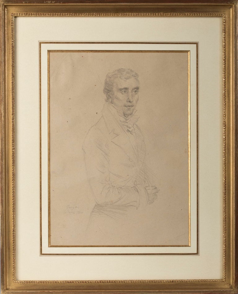 Drawing, Portrait of a Gentleman in the manner of Ingres, French School For Sale