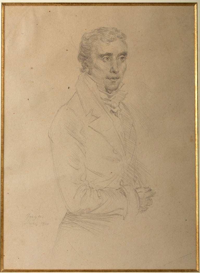 Portrait of a gentleman, pencil on paper. Bearing a signature, Ingres, Paris 1810.