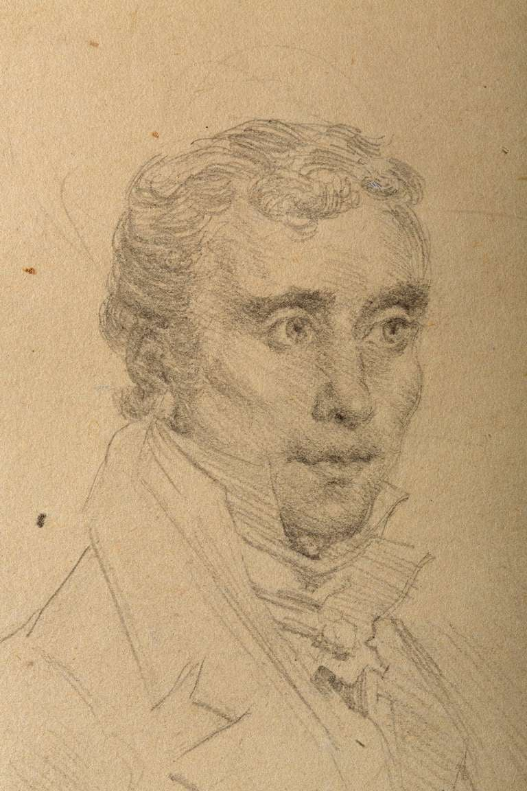Drawing, Portrait of a Gentleman in the manner of Ingres, French School In Good Condition For Sale In Boston, MA