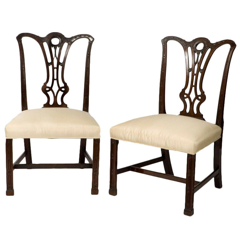 Pair Of George Iii Mahogany Chippendale Chairs For Sale At 1stdibs