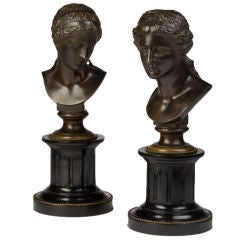 Pair of Neoclassical Style Bronze Busts of Women