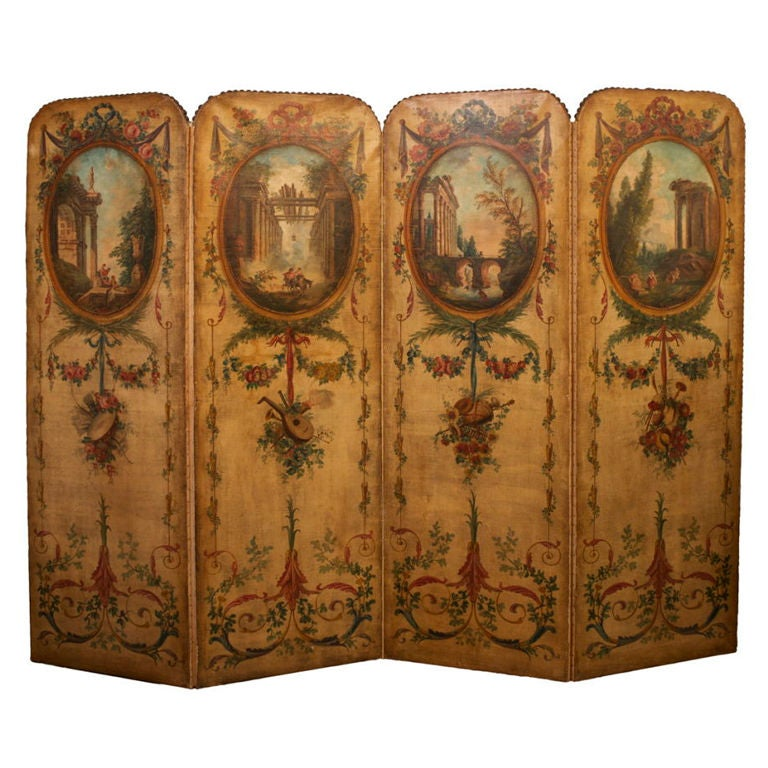Louis Xvi Style Four Panel Painted Canvas Floor Screen At