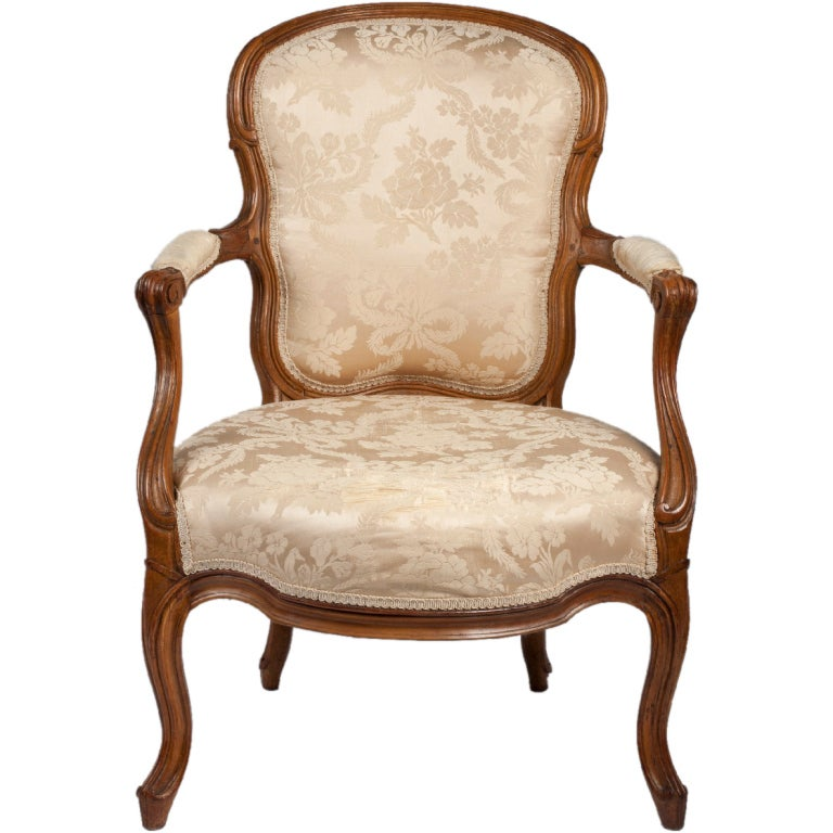 large louis xv beechwood fauteuil cabriolet stamped. Black Bedroom Furniture Sets. Home Design Ideas