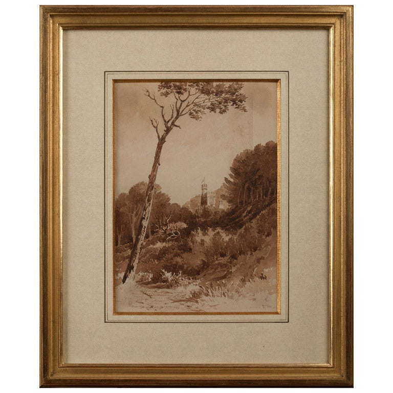 Watercolor signed by the Reverend James Bourne (1773-1854)