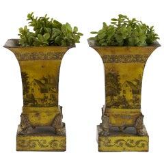 Pair of Empire Yellow Tole Peinte Cache Pots