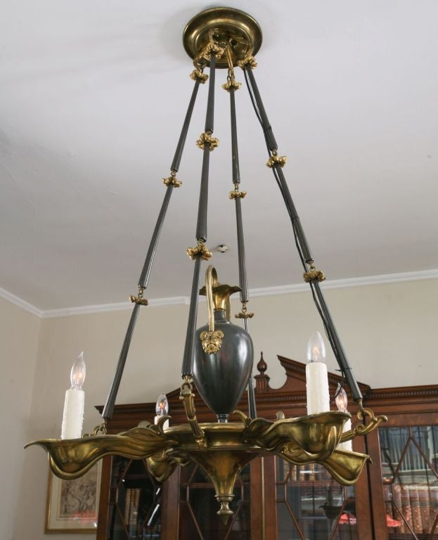 Art Deco Gilt and Patinated Bronze, Four-Light Chandelier 2