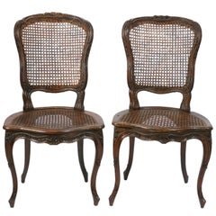 Pair of Louis XV Beechwood Caned Side Chairs