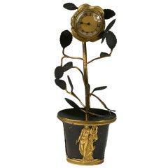 Empire Gilt and Patinated Bronze Clock