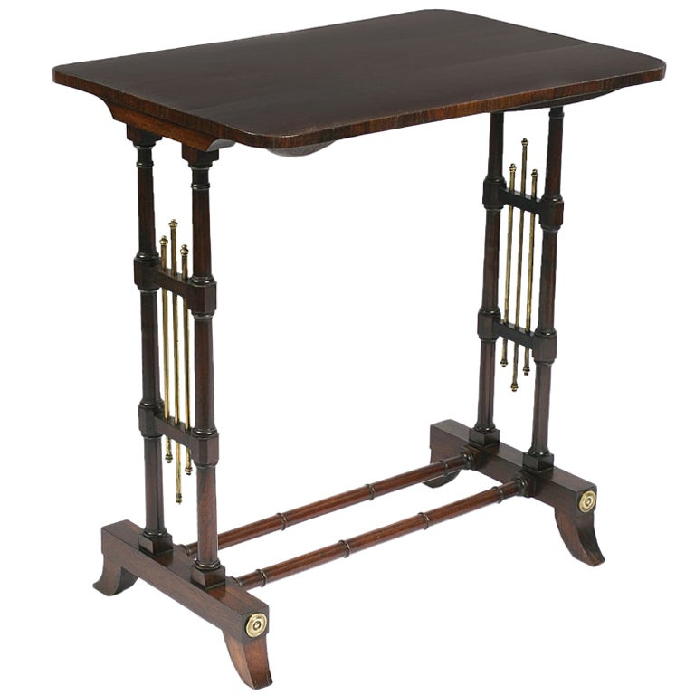 Regency Rosewood and Brass Side Table
