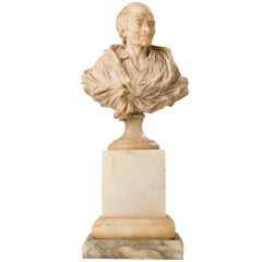 Alabaster Bust of Voltaire by Antoine Rosset (French, 1749-1818)