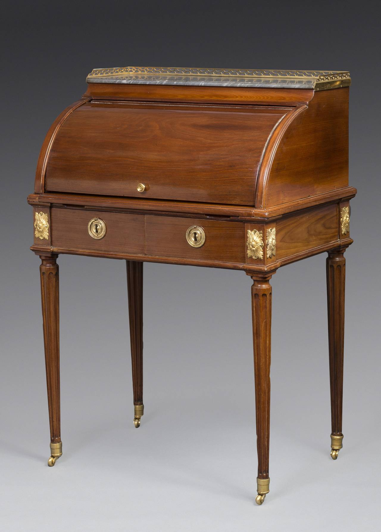louis xvi ormolu mounted mahogany bureau a cylindre desk attributed to leleu at 1stdibs. Black Bedroom Furniture Sets. Home Design Ideas