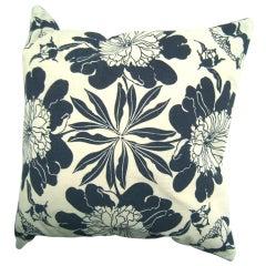 Original Hand Block Printed Peony Folly Cove Pillow