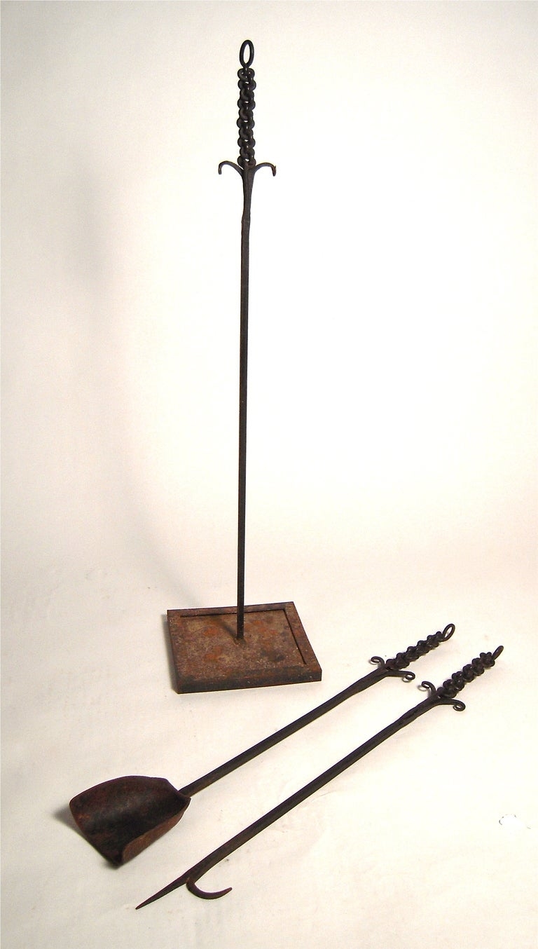 Unusual Wrought Iron Fireplace Tool Set image 3