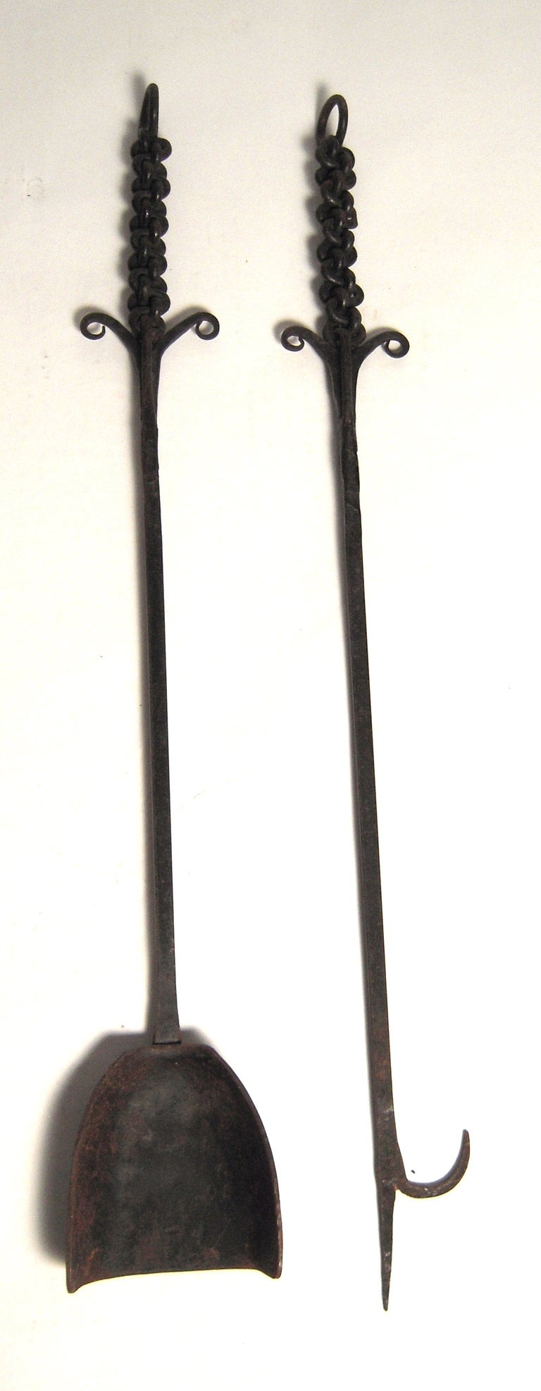 Unusual Wrought Iron Fireplace Tool Set image 4