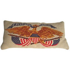 Patriotic American Eagle and Flag Needlepoint Pillow