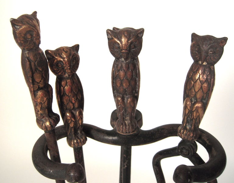 View this item and discover similar fireplace tools and chimney pots for sale at 1stdibs - A charming and complete set of brass and iron owl-decorated fireplace tools comprising tongs
