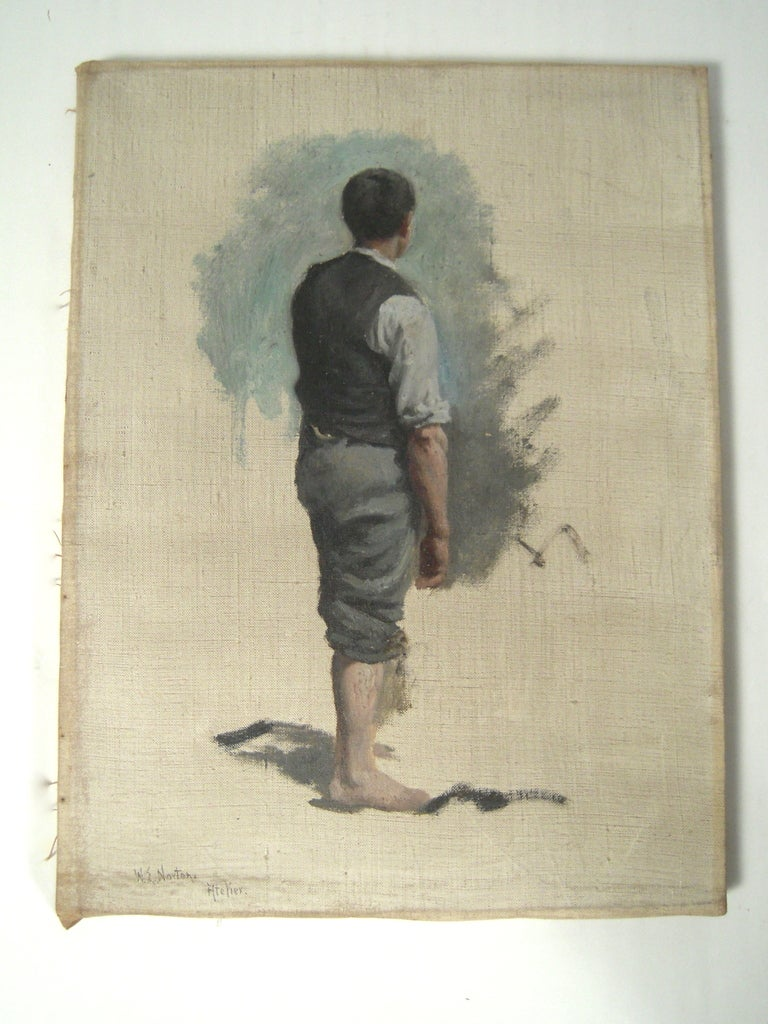 Three oil on canvas figural studies by celebrated American marine artist William Edward Norton (1843-1916), each featuring a male figure in shades of blue, grey, taupe and black, on a white field, certainly preparatory  studies for inclusion in a
