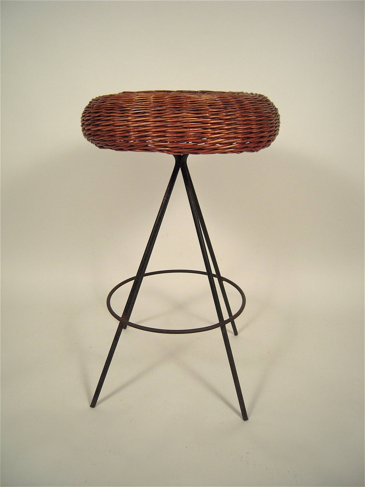 Mid Century Modern Wicker and Metal Bar Stool For Sale at 1stdibs