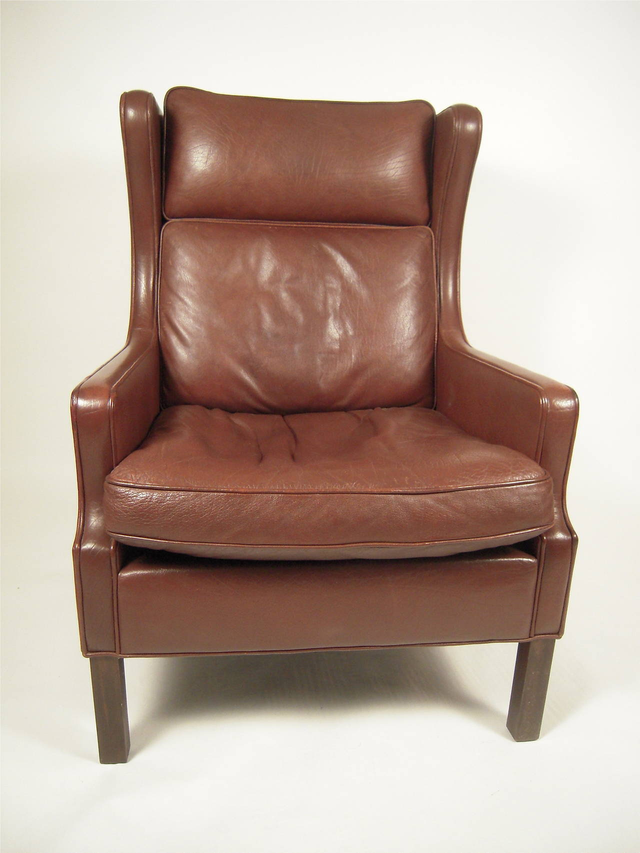 Vintage Danish Mid Century Leather Wingback Chair at 1stdibs