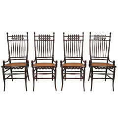 Set of Four Unusual, Graphic Aesthetic Movement Period Chairs