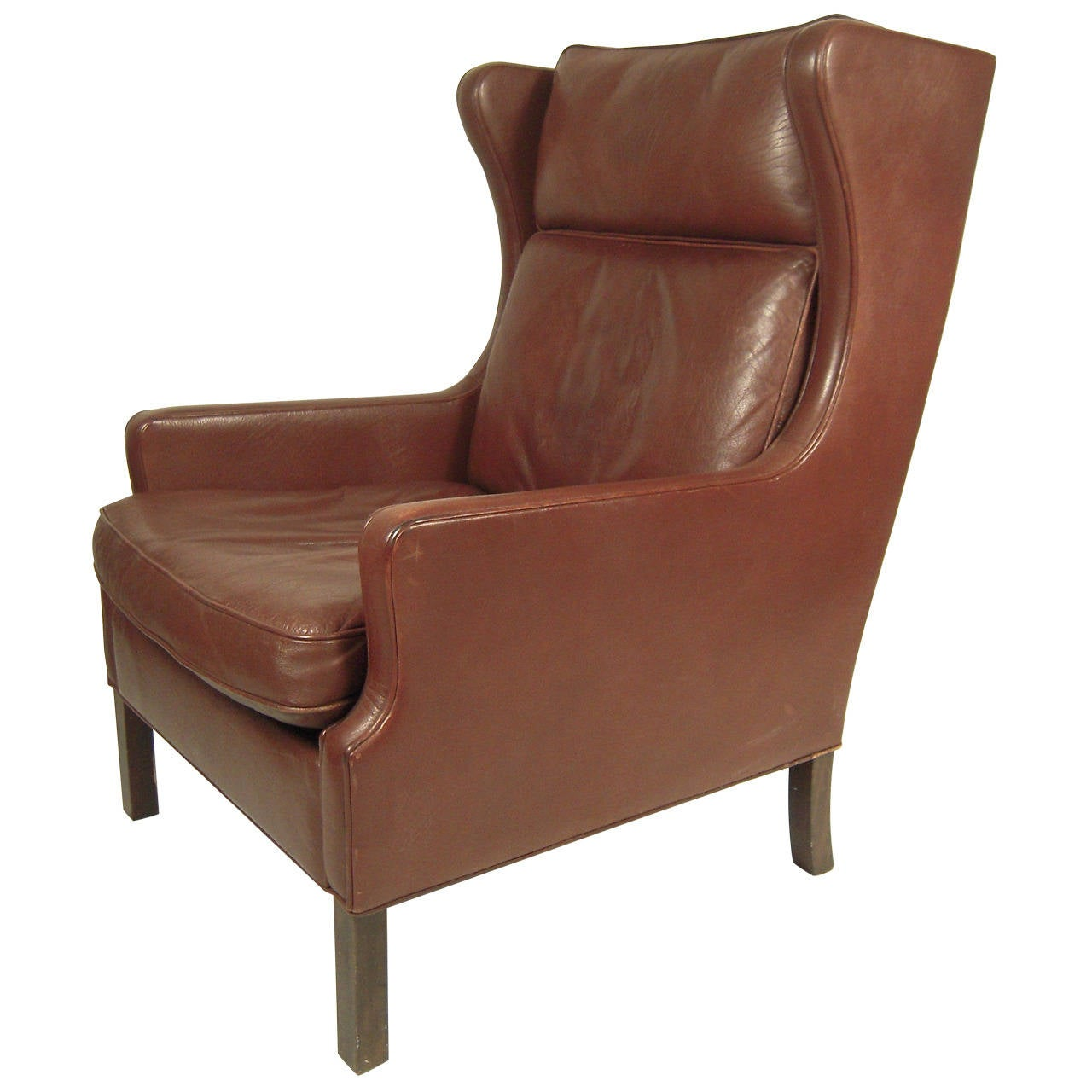 Vintage danish mid century leather wingback chair at 1stdibs Mid century chairs