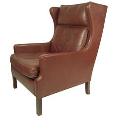 Vintage Danish Mid Century Leather Wingback Chair