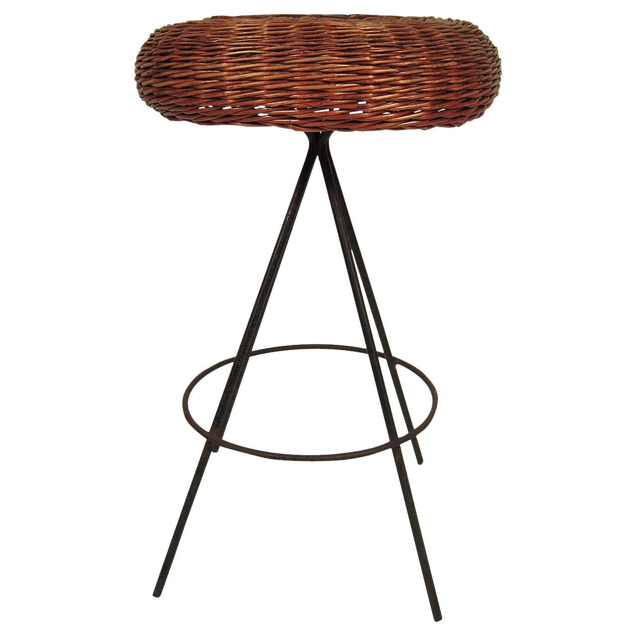 Mid Century Modern Wicker And Metal Bar Stool For Sale At