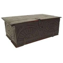 17th Century English Oak Document Box or Table Coffer