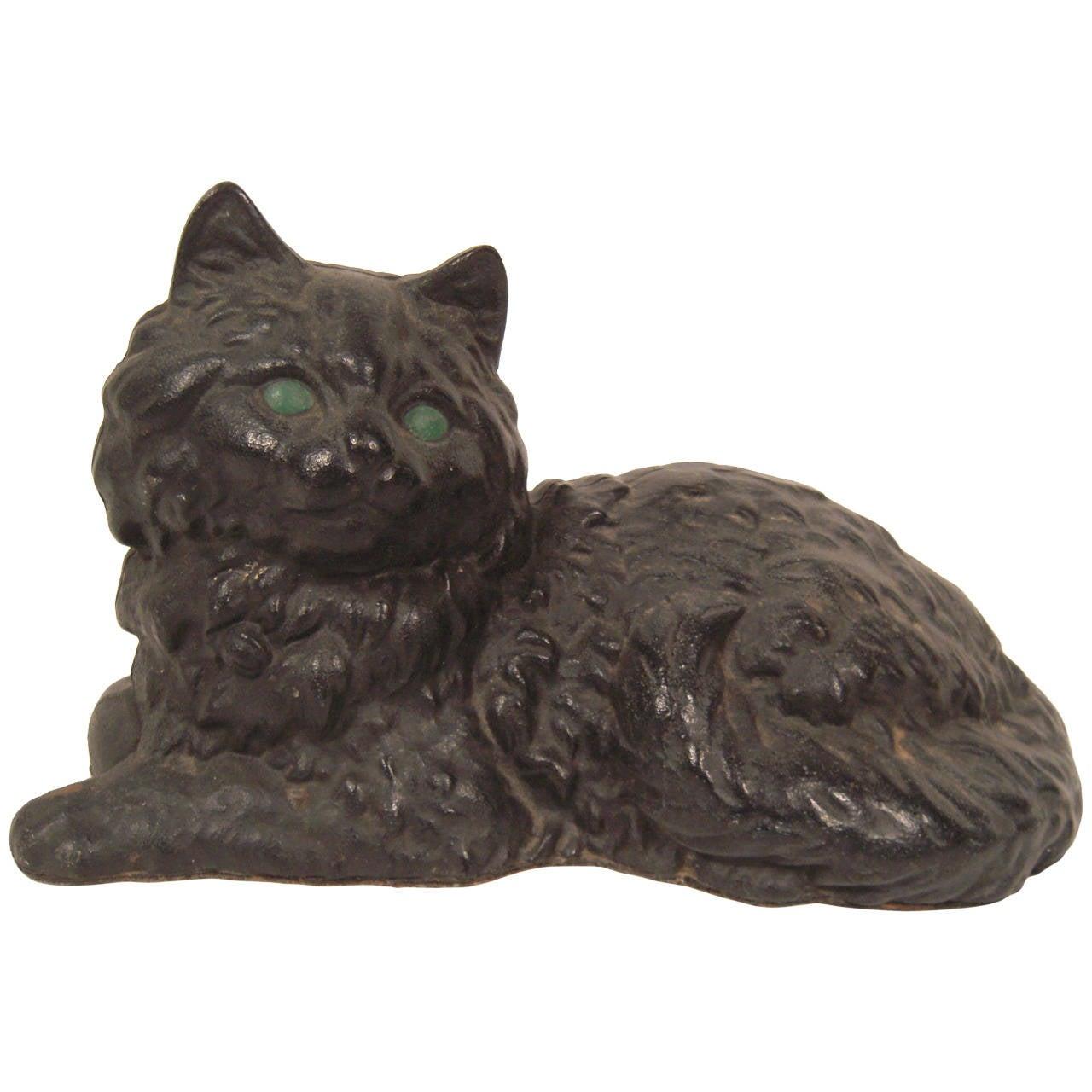 Black cat cast iron doorstop at 1stdibs - Cast iron cat doorstop ...