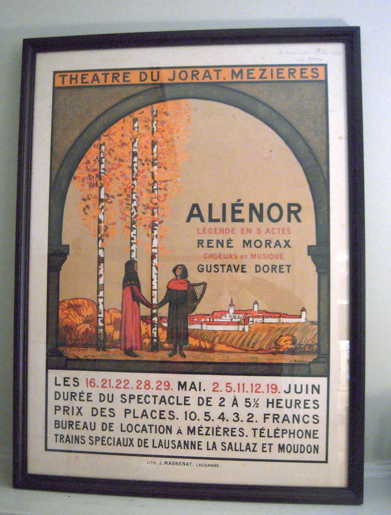 An original Swiss lithograph poster, circa 1910, by Jean Morax for the play, Alienor, French for Eleanor (of Acquitaine), written by René Morax with music by Gustave Doret, a 'legend' in five acts, lasting from 2 to 5 1/2 hours (!),  in  Arts and
