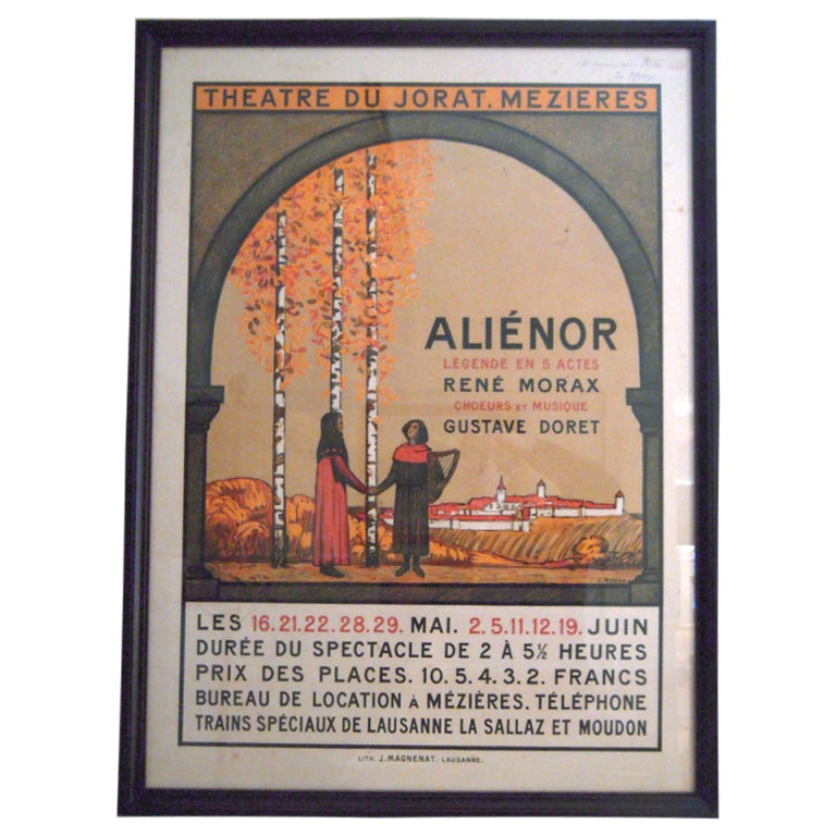 Jean Morax Eleanor of Aquitaine Swiss Theater Poster  For Sale